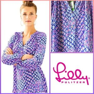 NWT Lilly Pulitzer Elsa Silk Top In Pop Up Toe In